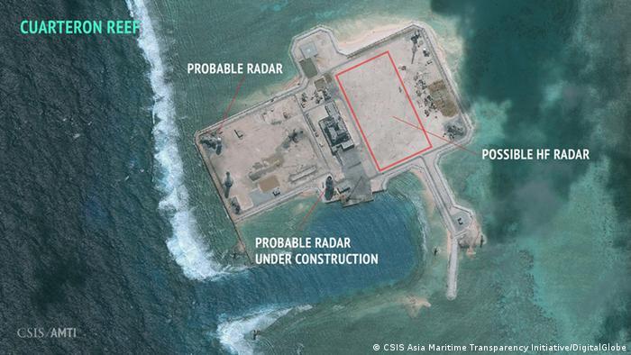 China Spratly-Inseln Luftaufnahmen von chinesischen Radar-Anlagen