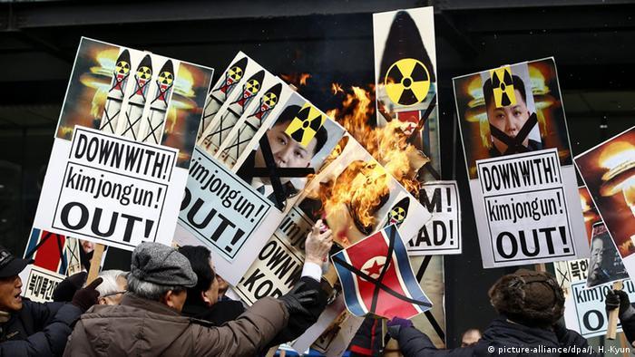 Demonstration gegen das nordkoreanische Atomprogram im Februar in Südkoreas Hauptstadt Seoul