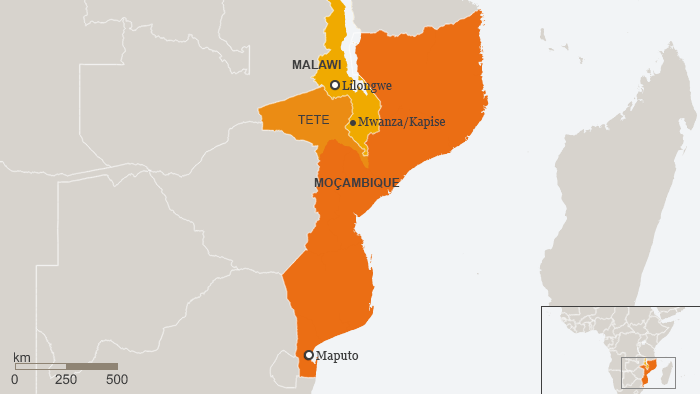 Karte Mosambik Malawi Mwanza Kapise Portugiesisch