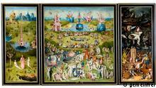 Gesamtansicht Der Garten der Lüste mit Garten Eden (links), Paradies (mitte) und Hölle (rechts)