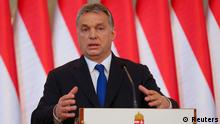 24.02.2016. ***** Hungarian Prime Minister Viktor Orban addresses a news conference in Budapest, Hungary, February 24, 2016. © Reuters