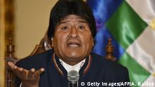 24.02.2016+++ Bolivian President Evo Morales Ayma answers questions from the press at Quemado palace in La Paz on February 24, 2016. Morales conceded on Wednesday he had lost a bid to seek a fourth term in office, after 51 percent of voters rejected the move in a weekend referendum. AFP PHOTO/Aizar Raldes / AFP / AIZAR RALDES (Photo credit should read AIZAR RALDES/AFP/Getty Images) © Getty Images/AFP/A. Raldes