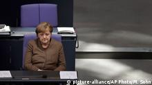25.02.2016 *** German Chancellor Angela Merkel attends a meeting of the German Federal Parliament, Bundestag, at the Reichstag building in Berlin, Germany, Thursday, Feb. 25, 2016. (AP Photo/Michael Sohn) © picture-alliance/AP Photo/M. Sohn