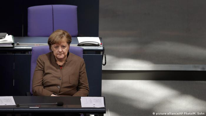 German Chancellor Angela Merkel attends a meeting of the German Federal Parliament, Bundestag, at the Reichstag building in Berlin, Germany, Thursday, Feb. 25, 2016 © picture-alliance/AP Photo/M. Sohn