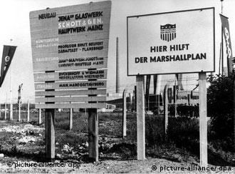 The Marshall plan helps here, reads the 1952 sign in Mainz, Germany