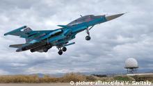 Syrien Latakia Russischer Kampfjet Sukhoi Su-34
