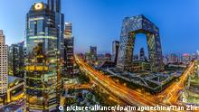 ARCHIV 2014++++++ Night view of CBD (Central Business District) with the new CCTV Tower, right, and other skyscrapers and high-rise office buildings in Beijing, China, 24 April 2014. (c) picture-alliance/dpa/Imaginechina/Tian Zhe