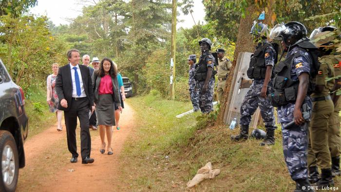 EU envoy Kristian Schmidt and other envoys outside the residence of Kizza Besigye