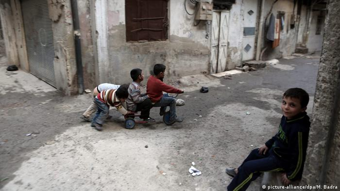 Damascus children playing during a cease-fire