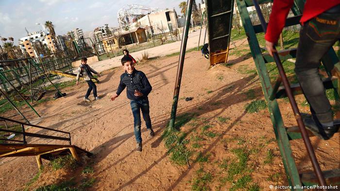 Syrien Waffenruhe spielende Kinder in Damaskus