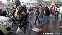 28.02.2016 A soldier walks at the site of suicide blasts in Baghdad's Sadr City Iraq February 28, 2016. The death toll from two suicide blasts in Baghdad's mainly Shi'ite district of Sadr City rose to 24 with more than 60 others wounded, police and medical sources said on Sunday. REUTERS/Wissm al-Okili Copyright: Reuters/W. al-Okili