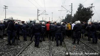 Flüchtlinge Protest an der Grenze zwischen Griechenland und Mazedonien