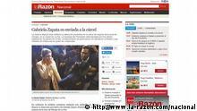 Screenshot von der Internetseite von La Razon. Quelle: http://www.la-razon.com/nacional