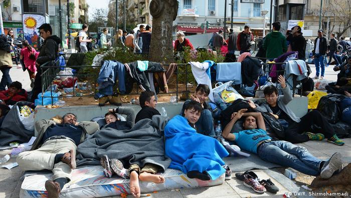 Афганские беженцы в Афинах