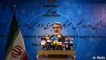 Rahmani Fazli Innenminister Iran Pressekonferenz vom 29.02.2016 des iranischen Innenministers Abdolreza Rahmani Fazli zum Abschluss der Wahlen von zwei Parlamenten in Iran. Quelle: Mehr