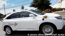 FILE - In this May 13, 2015, file photo, Google's self-driving Lexus car drives along street during a demonstration at Google campus in Mountain View, Calif. A self-driving car being tested by Google struck a public bus on a city street, a fender-bender that appears to be the first time one of the tech company's vehicles caused an accident. The collision occurred on Valentine's Day and Google reported it to California's Department of Motor Vehicles in an accident report that the agency posted Monday, Feb. 29. (picture alliance/AP Photo/T. Avelar)