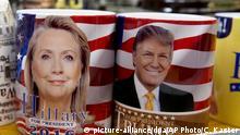 USA Vorwahlen Kaffeetassen von Hillary Clinton und Donald Trump