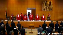 01.03.2016+++ Andreas Vosskuhle (C) President of Germany's Constitutional Court leads his fellow judges into the courtroom for the start of the trial against the Nationaldemokratische Partei Deutschlands (NPD) in Karlsruhe, Germany, March 1, 2016. Germany's highest court opened proceedings on Tuesday on whether to ban the far-right NPD, increasing the likelihood that the party branded by critics as neo-Nazi could soon be outlawed. REUTERS/Kai Pfaffenbach +++(c) Reuters/K. Pfaffenbach