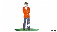 Illustration: Einem Mann rutscht das Herz aus der Brust in die Hose