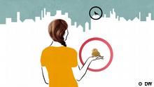 Eine Frau hält einen Spatz in der Hand während eine Taube auf einem Dach sitzt