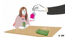 Eine Frau bekommt einen Schlüssel für die Hälfte des ihr verfügbaren Geldes