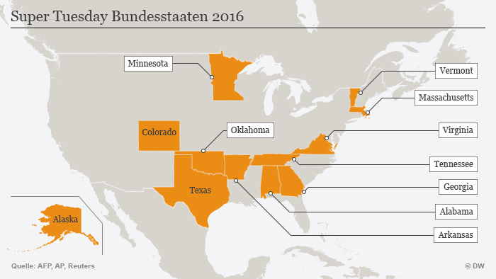 Karte Super Tuesday Bundesstaaten 2016 (Grafik: DW)