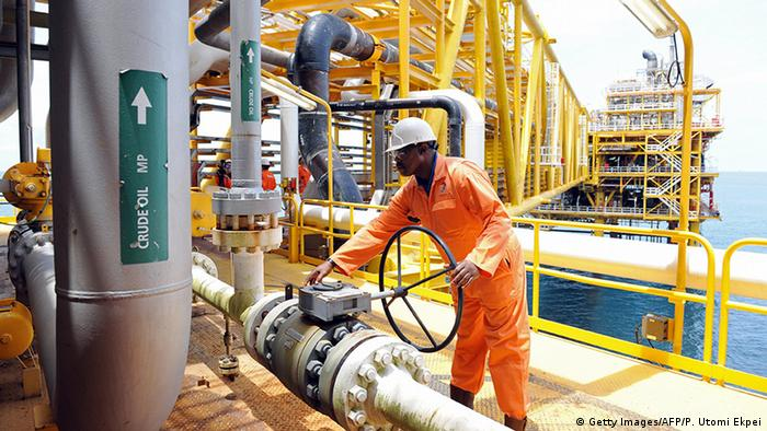 Nigeria Port Harcourt: A worker inspects facilities on an upstream platform at the Total oil platform