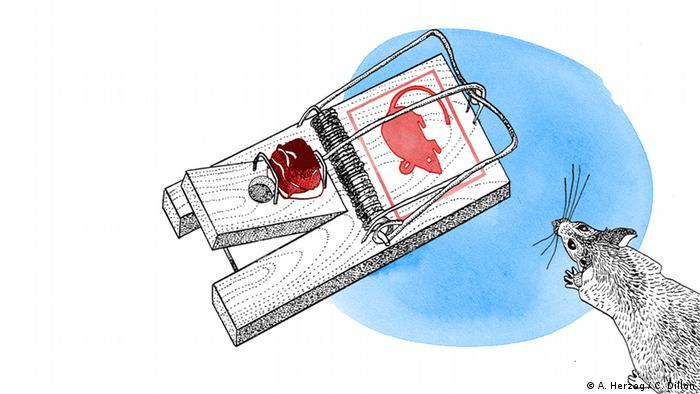 Mit Speck fängt man Mäuse, Illustration, Copyright: DW/A. Herzog, C. Dillon