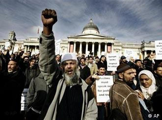 In London's Trafalgar Square, Muslims demonstrated against the pope