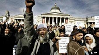 Muslims attending a demonstration rally and march starting at London's Trafalgar Square are seen gathering in the square in front of Britain's National Gallery.