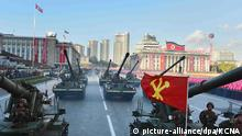 picture-alliance/dpa/KCNA 12 October 2015 epa04974367 A picture released by the North Korean Central News Agency (KCNA) on 12 October 2015 shows North Korean tanks passing by during a large-scale military parade at Pyongyang's Kim Il-sung Square, in Pyongyang, North Korea, 10 October 2015, to mark the 70th anniversary of the founding of the ruling Workers' Party of Korea. EPA/KCNA -- BEST QUALITY AVAILABLE -- SOUTH KOREA OUT +++(c) dpa - Bildfunk+++