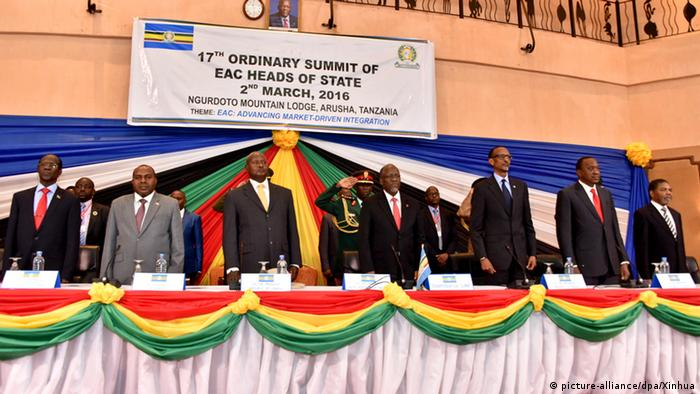 East African Community leaders take part in a summit in 2016