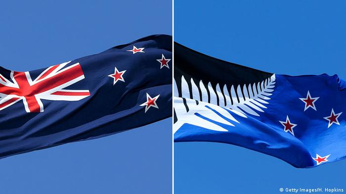The NZ flag, left and alternative flag, right
