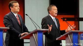 Ted Cruz and John Kasich during a Republican presidential candidate debate in Detroit, March 3, 2016.