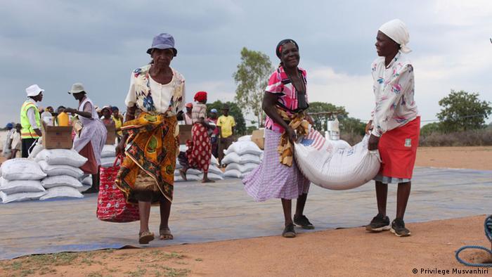 Villagers in Zimbabwe's Masvingon Province receiving food aid (Photo: Garikai Chaunza)