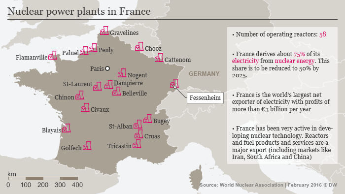 Map showing France's nuclear reactors