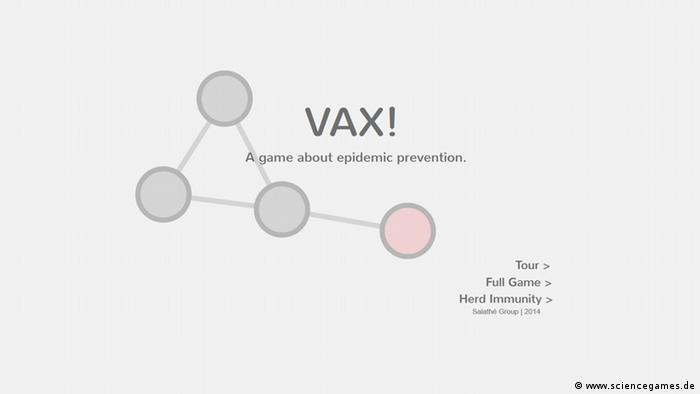 Screenshot der Website Vax!