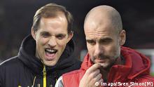 Vorschau zum Bundesligakracher Borussia Dortmund-FC Bayern Muenchen. die beiden Trainer Thomas TUCHEL (Trainer Borussia Dortmund) und Pep (Josep) GUARDIOLA (Trainer FCB).FOTOMONTAGE.Fussball 1. Bundesliga, 25. Spieltag,Borussia Dortmund-FC Bayern Muenchen.