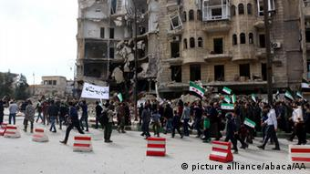 Syrian opponents gathered at the Tarik al-Bab neighborhood to stage a protest against the Assad regime and Russia.