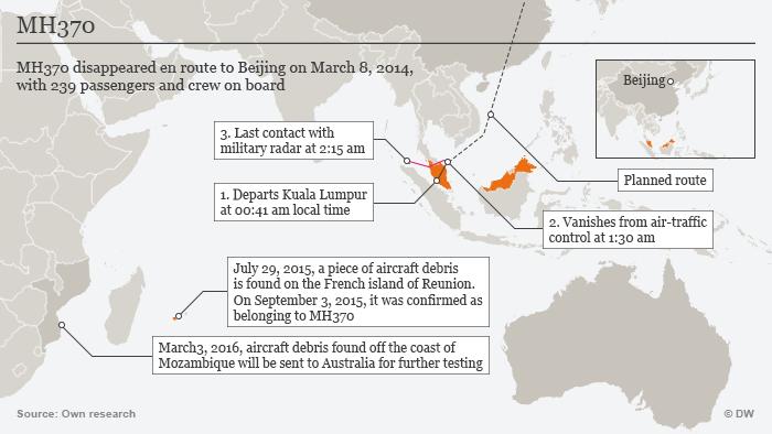 Infografik 2. Jahrestag MH370 Karte ENG