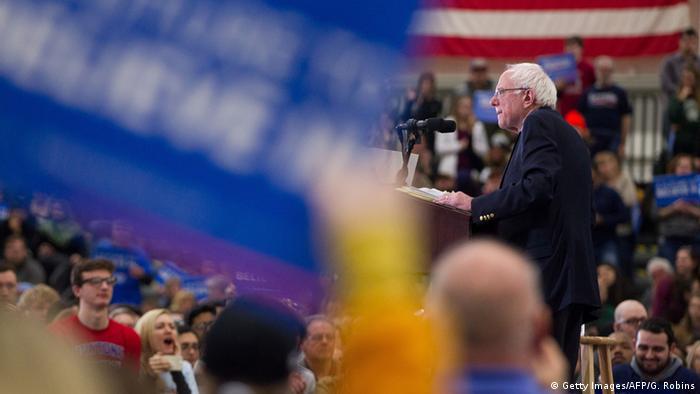 Bernie Sanders at a Rally in Michigan.