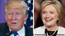 A combination photo of Republican U.S. presidential candidate Donald Trump and Democratic U.S. presidential candidate Hillary Clinton A combination photo shows Republican U.S. presidential candidate Donald Trump (L) in Palm Beach, Florida and Democratic U.S. presidential candidate Hillary Clinton (R) in Miami, Florida at their respective Super Tuesday primaries campaign events on March 1, 2016. Republican Donald Trump and Democrat Hillary Clinton rolled up a series of wins on Tuesday, as the two presidential front-runners took a step toward capturing their parties' nominations on the 2016 campaign's biggest day of state-by-state primary voting. REUTERS/Scott Audette (L), Javier Galeano (R) Copyright: Reuters/S. Audette/J. Galeano