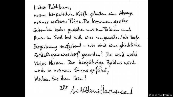 Nikolaus Harnoncourt handwritten farewell EPA/WIENER MUSIKVEREIN