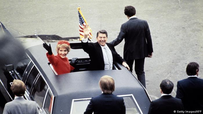 President Ronald Reagan and Nancy Reagan on inauguration day in January 1981