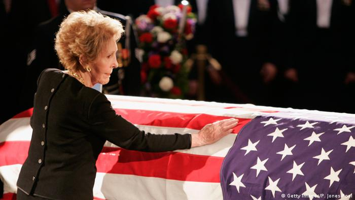 Nancy Reagan at President Ronald Reagan's funeral