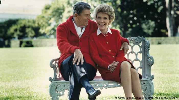 President Ronald Reagan and Nancy Reagan celebrate their 50th wedding anniversary