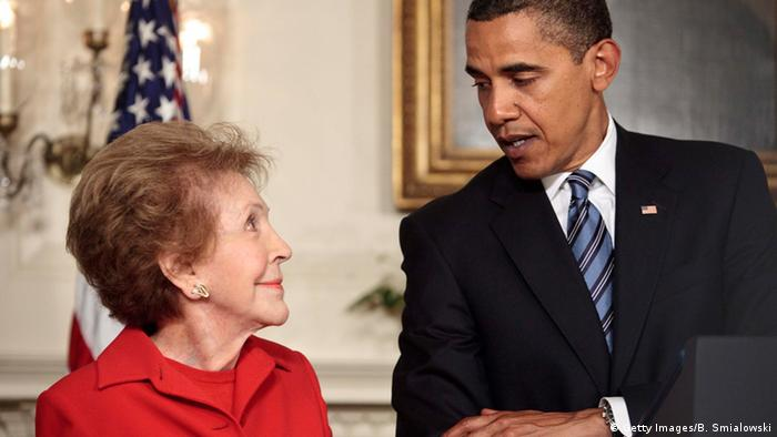 President Barack Obama and Nancy Reagan