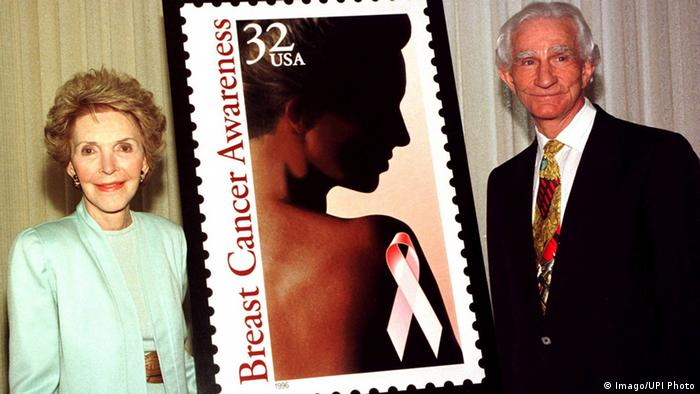 Nancy Reagan unveils a US postage stamp raising breast cancer awareness