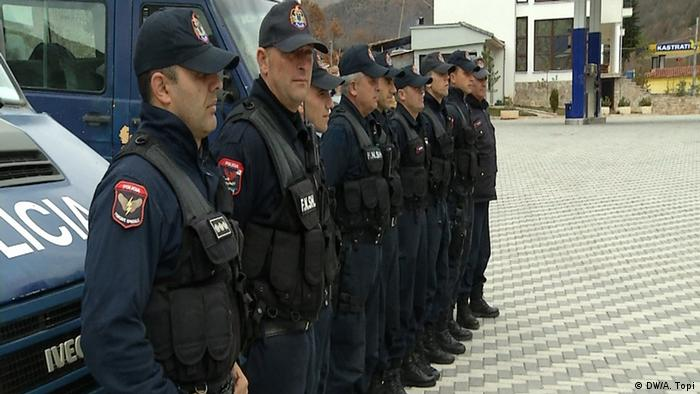 Albanian police near the border with Greece