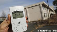 Japan Okuma , Fukushima , dosimeter radiation level of 9.76 microsieverts